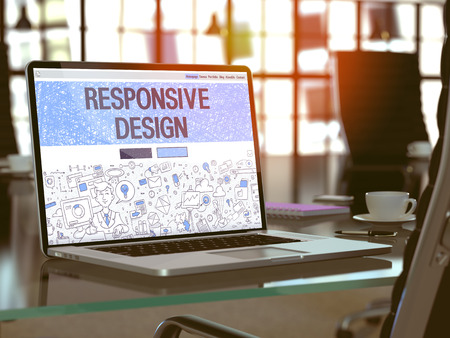 Responsive Design Concept - Closeup on Landing Page of Laptop Screen in Modern Office Workplace. Toned Image with Selective Focus. 3D Render.