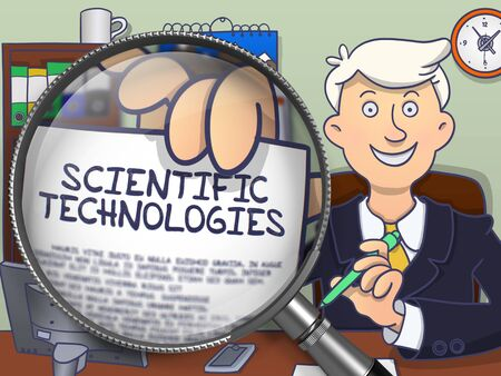 erudite: Scientific Technologies. Business Man Holding a Paper with Text through Magnifier. Multicolor Doodle Illustration. Stock Photo