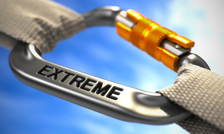 extremity: Chrome Carabine with White Ropes on Sky Background, Symbolizing the Extreme. Selective Focus. 3D Render.