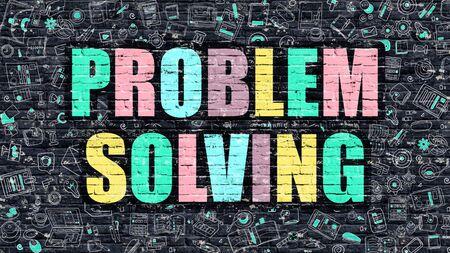 problem solving: Problem Solving Concept. Problem Solving Drawn on Dark Wall. Problem Solving in Multicolor. Problem Solving Concept. Modern Illustration in Doodle Design of Problem Solving.