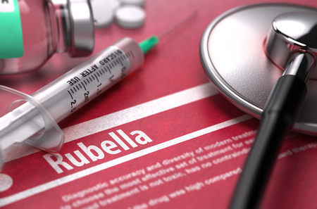 medical attention: Rubella - Printed Diagnosis on Red Background with Blurred Text and Composition of Pills, Syringe and Stethoscope. Medical Concept. Selective Focus. 3D Render.