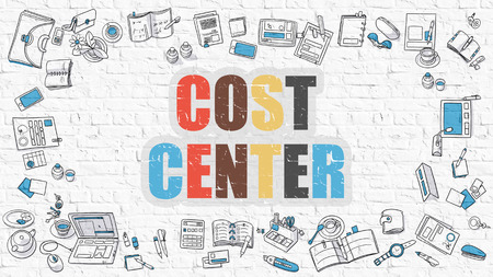 pecuniary: Cost Center Concept. Cost Center Drawn on White Wall. Cost Center in Multicolor. Modern Style Illustration. Doodle Design Style of Cost Center. Line Style Illustration. White Brick Wall.
