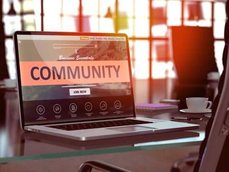 rationale: Community Concept Closeup on Laptop Screen in Modern Office Workplace. Toned Image with Selective Focus. 3D Render. Stock Photo