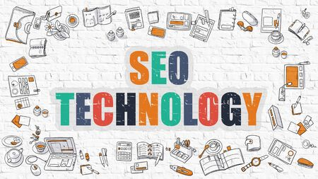 metasearch: SEO - Search Engine Optimization - Technology Concept. Modern Line Style Illustration. Multicolor SEO - Search Engine Optimization - Technology Drawn on White Brick Wall. Doodle Icons.
