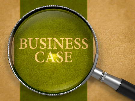 business case: Business Case through Lens on Old Paper with Dark Green Vertical Line Background. 3D Render.