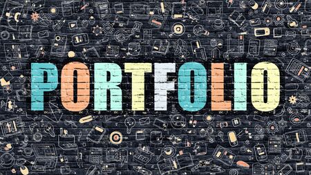 implemented: Portfolio Concept. Modern Line Style Illustration. Multicolor Portfolio Drawn on Dark Brick Wall. Doodle Icons. Doodle Design Style of  Portfolio Concept. Portfolio on Dark Brick Wall. Portfolio. Stock Photo