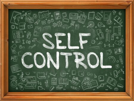 self control: Self Control Concept. Modern Line Style Illustration. Self Control Handwritten on Green Chalkboard with Doodle Icons Around. Doodle Design Style of Self Control Concept.