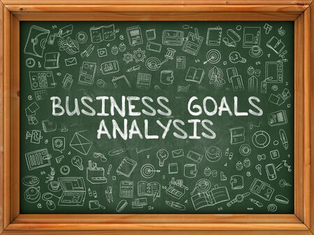 weaknesses: Business Goals Analysis - Hand Drawn on Green Chalkboard with Doodle Icons Around. Modern Illustration with Doodle Design Style. Stock Photo