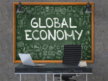 relaciones laborales: Dibujados a mano de economía global en la pizarra verde. Interior moderno. Oscuro fondo de pared de hormigón. Concepto de negocio con elementos de estilo Doodle. 3D.