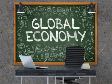 global economy: Hand Drawn Global Economy on Green Chalkboard. Modern Office Interior. Dark Old Concrete Wall Background. Business Concept with Doodle Style Elements. 3D.
