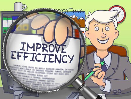 man looking out: Man in Suit Looking at Camera and Holds Out a Paper with Text Improve Efficiency Concept through Lens. Closeup View. Colored Doodle Style Illustration.