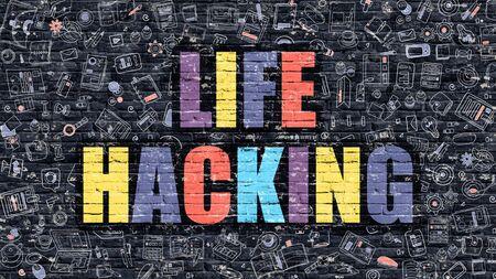 La vida de Hacking - Concepto multicolor sobre fondo oscuro pared de ladrillo con los iconos del Doodle alrededor. Ilustración moderna con elementos del estilo del Doodle. La vida de Hacking oscuro en la pared. Foto de archivo - 52891777