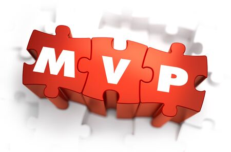 MVP - Minimum Vable Product - White Word on Red Puzzles on White Background. 3D Render.