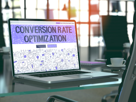 Conversion Rate Optimization Concept Closeup on Landing Page of Laptop Screen in Modern Office Workplace. Toned Image with Selective Focus. 3D Render.
