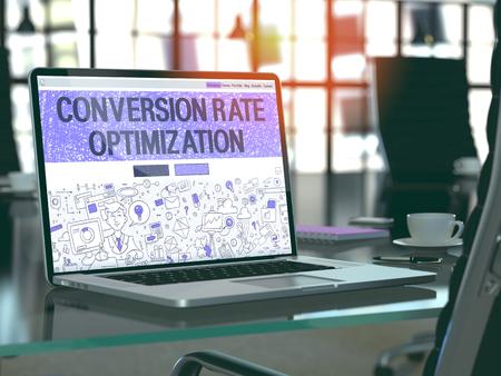 Conversie Optimalisatie Concept Close-up op de bestemmingspagina van de laptop scherm in het moderne kantoor werkplek. Afgezwakt beeld met selectieve aandacht. 3D Render. Stockfoto