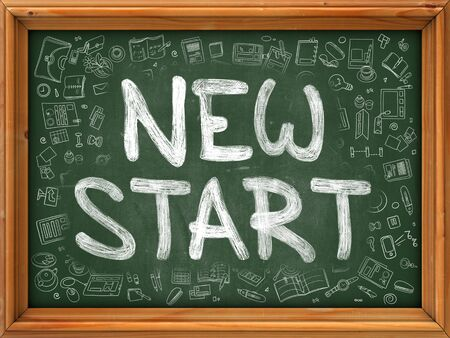 new start: New Start - Hand Drawn on Green Chalkboard with Doodle Icons Around. Modern Illustration with Doodle Design Style. Stock Photo