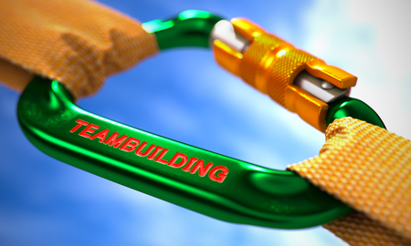 teambuilding: Strong Connection between Green Carabiner and Two Orange Ropes Symbolizing the Teambuilding. Selective Focus. 3D Render. Stock Photo
