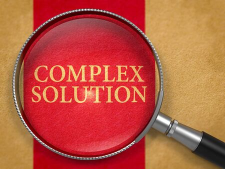 Complex Solution through Lens on Old Paper with Dark Red Vertical Line Background. 3D Render.