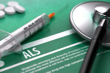 als: ALS - Medical Concept on Green Background with Blurred Text and Composition of Pills, Syringe and Stethoscope. 3D Render. Stock Photo