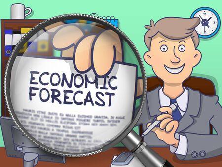 outlook: Economic Forecast. Man Showing a Paper with Concept through Lens. Multicolor Doodle Illustration.