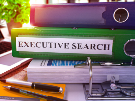 executive search: Executive Search - Green Office Folder on Background of Working Table with Stationery and Laptop. Executive Search Business Concept on Blurred Background. Executive Search Toned Image. 3D.