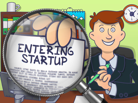 monetizing: Business Man in Suit Holds Out a Paper with Inscription Entering Startup Concept through Magnifying Glass. Closeup View. Colored Doodle Style Illustration.