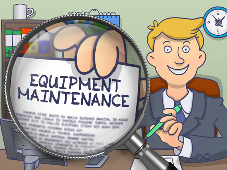 operational: Officeman Sitting in Office and Shows Paper with Concept Equipment Maintenance. Closeup View through Lens. Colored Modern Line Illustration in Doodle Style.