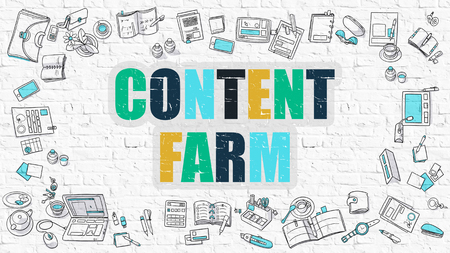 topicality: Content Farm Concept. Modern Line Style Illustration. Multicolor Content Farm Drawn on White Brick Wall. Doodle Icons. Doodle Design Style of Content Farm Concept. Stock Photo