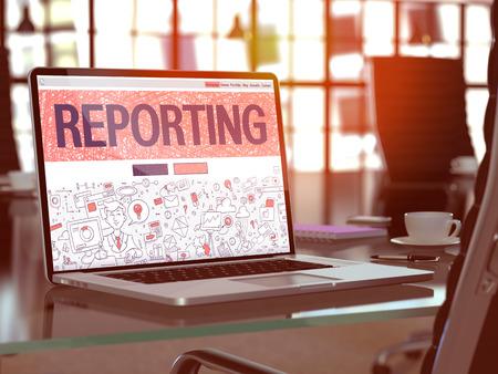 registros contables: Lugar de trabajo moderno con la computadora portátil que muestra la página de destino en el estilo del diseño del Doodle con informes de texto. Imagen virada con enfoque selectivo. Render 3D.