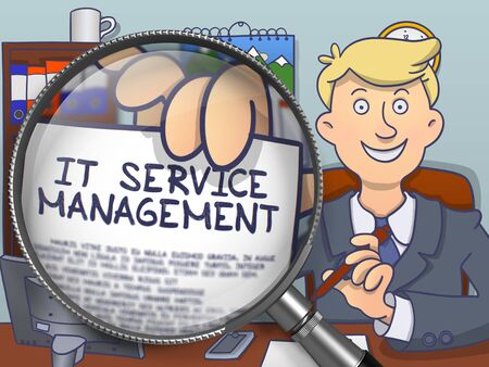 it professional: Officeman in Suit Showing a Text on Paper IT Service Management Concept through Magnifying Glass. Closeup View. Multicolor Doodle Illustration.