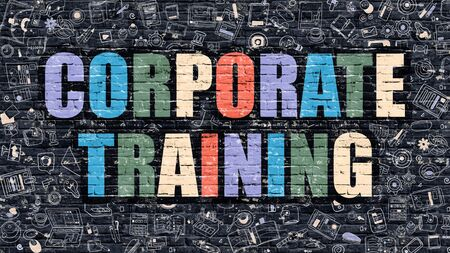 corporate training: Multicolor Concept - Corporate Training on Dark Brick Wall with Doodle Icons. Modern Illustration in Doodle Style. Corporate Training Business Concept. Corporate Training on Dark Wall.
