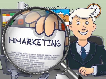 holds: Businessman Holds Out a Text on Paper Mmarketing. Closeup View through Lens. Multicolor Doodle Style Illustration.
