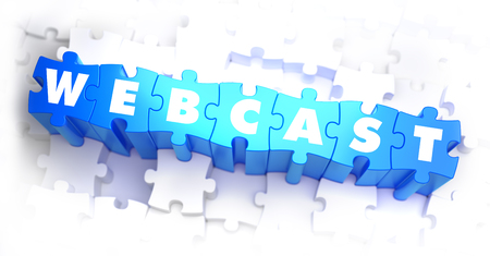 webcast: Webcast - White Word on Blue Puzzles on White Background. 3D Render.