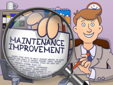 qualitatively: Maintenance Improvement. Officeman Holds Out a Paper with Text through Magnifying Glass. Multicolor Doodle Illustration.