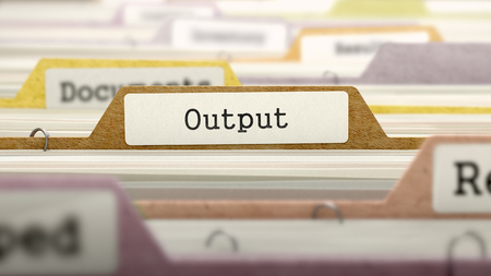 output: Output - Folder Register Name in Directory. Colored, Blurred Image. Closeup View. 3D Render. Stock Photo