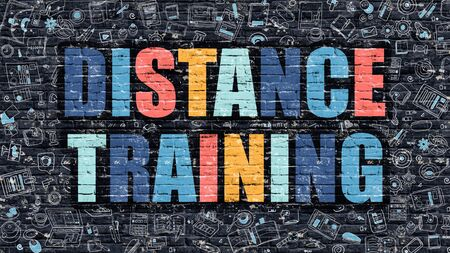 distance: Distance Training Concept. Modern Illustration. Multicolor Distance Training Drawn on Dark Brick Wall. Doodle Icons. Doodle Style of  Distance Training Concept. Distance Training on Wall. Stock Photo