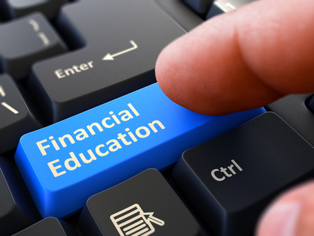financial education: Person Click on Blue Keyboard Button with Text Financial Education. Selective Focus. Closeup View. 3D Render. Stock Photo