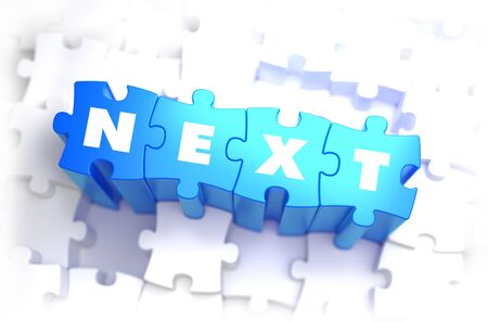 guess: Next - Text on Blue Puzzles on White Background. 3D Render.