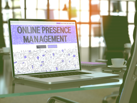Online Presence Management Concept Closeup on Landing Page of Laptop Screen in Modern Office Workplace. Toned Image with Selective Focus. 3D Render. Imagens - 52891354