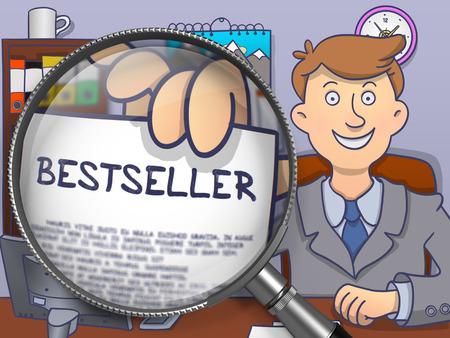marketeer: Bestseller. Concept on Paper in Business Mans Hand through Magnifying Glass. Multicolor Doodle Illustration.