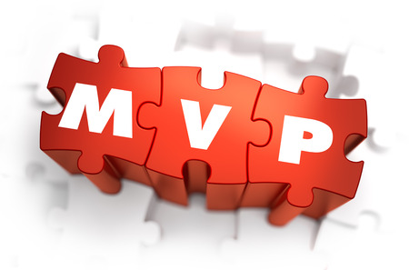 mvp: MVP - Minimum Vable Product - White Word on Red Puzzles on White Background. 3D Render.