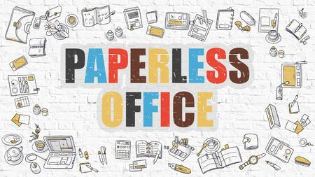 paperless: Paperless Office Concept. Modern Line Style Illustration. Multicolor Paperless Office Drawn on White Brick Wall. Doodle Icons. Doodle Design Style of  Paperless Office  Concept.