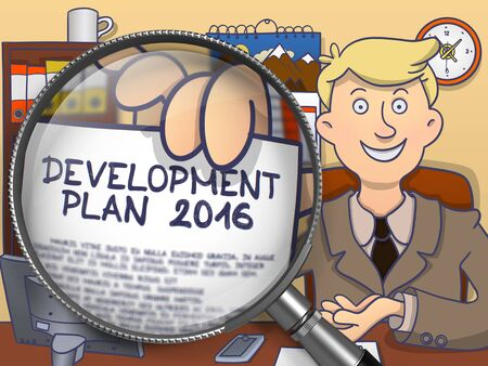 year increase: Businessman in Office Showing Paper with Concept Development Plan 2016. Closeup View through Magnifying Glass. Colored Doodle Style Illustration. Stock Photo