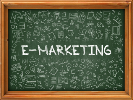 emarketing: E-Marketing Concept. Modern Line Style Illustration. E-Marketing Handwritten on Green Chalkboard with Doodle Icons Around. Doodle Design Style of E-Marketing Concept.