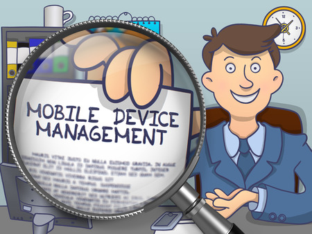 saas: Mobile Device Management through Magnifying Glass. Business Man Shows Paper with Concept. Closeup View. Colored Modern Line Illustration in Doodle Style.