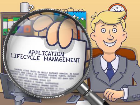 lifecycle: Gestión del ciclo de vida de la aplicación en papel en la mano del hombre de negocios a través de la lente para ilustrar un concepto de negocio. Ilustración de color de línea de estilo moderno Doodle. Foto de archivo