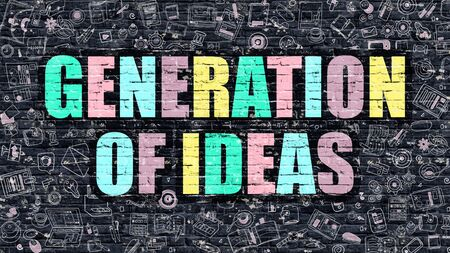 concept and ideas: Generation of Ideas Concept. Modern Illustration. Multicolor Generation of Ideas Drawn on Dark Brick Wall. Doodle Icons. Doodle Style of  Generation of Ideas Concept. Generation of Ideas on Wall.