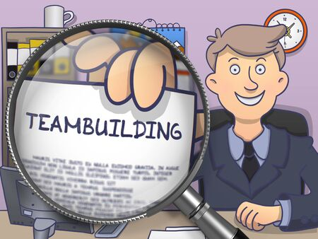 teambuilding: Teambuilding. Man Showing Paper with Concept through Lens. Colored Modern Line Illustration in Doodle Style. Stock Photo