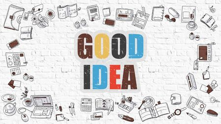 good idea: Good Idea - Multicolor Concept with Doodle Icons Around on White Brick Wall Background. Modern Illustration with Elements of Doodle Design Style.