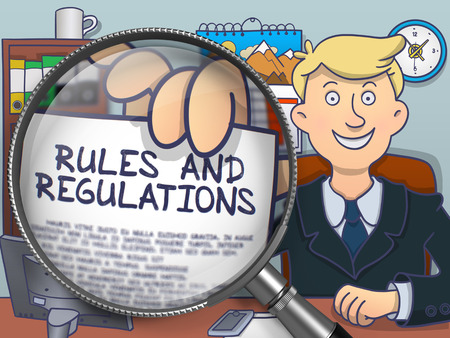 regulations: Man in Office Showing a Paper with Concept Rules and Regulations. Closeup View through Lens. Colored Modern Line Illustration in Doodle Style.